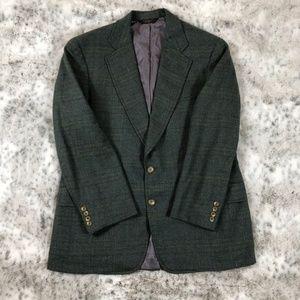 Paul Stuart VTG Wool Jacket Green Plaid Print 44